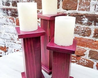 Red Rustic Candle Stands, Farmhouse Candle Holders, Wooden Candle Stands Custom Made, Candle Stands Set of 3