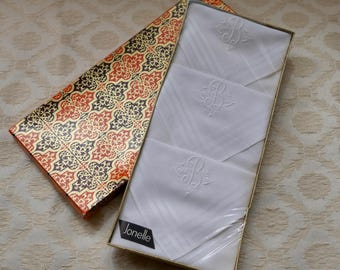 Set Cotton Hankies, Initial B, Embroidered Hanky, Initialled Hanky, White Handkerchief, Vintage Hankies, Boxed Set Three, Mother Of Bride