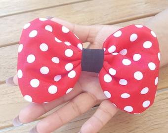 Minnie Mouse, Round Bow, Polkadot, Disney Bow