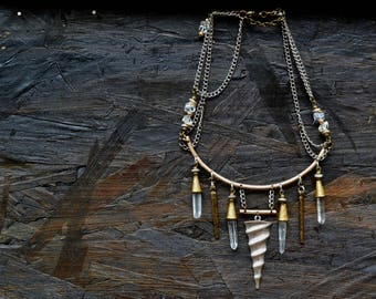 "Choker ""Torvelinho"", the Tribal Quartz & brass"