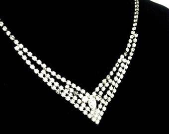 Signed Rhinestone Necklace Eisenberg Ice Necklace Bridal Jewelry Vintage Wedding Jewelry  Gift For Her Sparkly Vintage Rhinestone Necklace