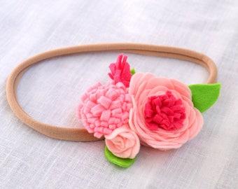 Felt headband with pink flower Felt flower headband Baby girl floral crown Newborn headband Pink felt crown