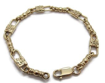 ACTS Bracelet Fishers Of Men 14K Gold MEDIUM LINK, Fish and Cross Design!!