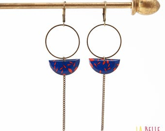 Earrings dangle half moon pattern blue and Red
