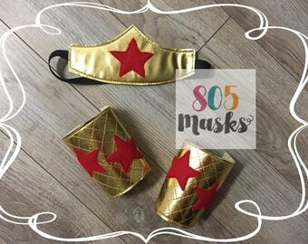 Wonder Woman Costume, Super Hero Headband and Arm Bands, Wonder Woman Headband, Wonder Woman Arm Cuffs, Baby Kids Halloween Costume