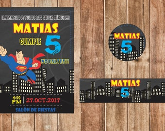 Invitation birthday Super Heroes, woman wonder, Super Man, printable Digital, Spanish and English.