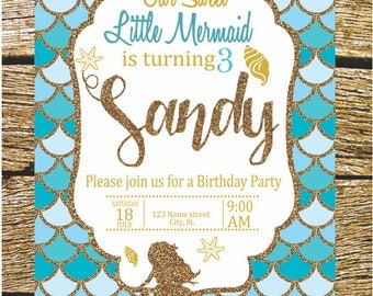 Birthday Sirena invitation, printable.