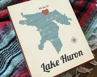 Lake Huron - Lake Huron Art - Lake Huron Print - Wood Block Art Print