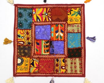 Handmade Hippie Gypsy Home Decor Ethnic Multi color Embroidered Hippy Patchwork Bohemian Pillow Shams Couch Cushion Cover Case G801