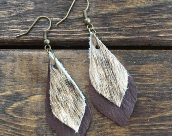Brindle Cowhide and Leather Earrings