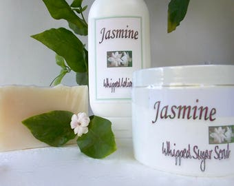 Jasmine Gift Set - Whipped Sugar Scrub - Whipped Body Lotion - Artisan Cold Process Soap, Jasmine Sambac, Gift for Her