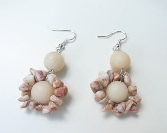 Earrings, Handmade,  Tibetan stone, Marble Jasper semi-precious stones