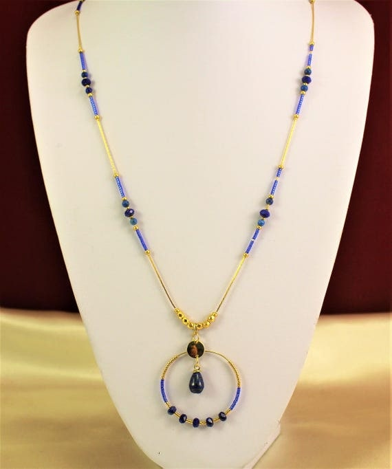 gold plated Bohemian chic necklace with pearls and seed beads