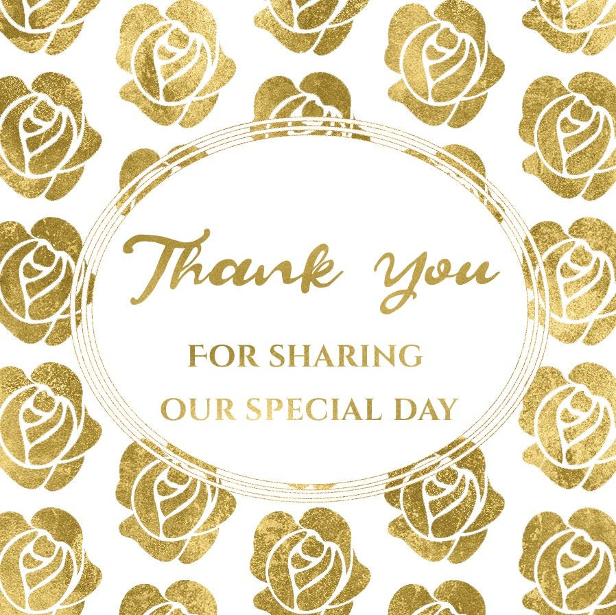 Gold Wedding Thank You Stickers, Thank You Wedding Tags, Wedding ...