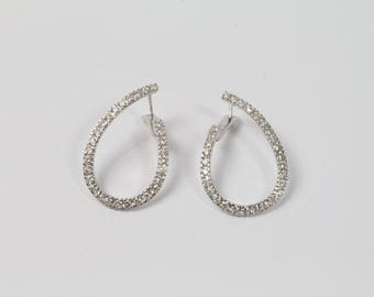 Diamond and 14K White Gold Twist Hoop Earrings