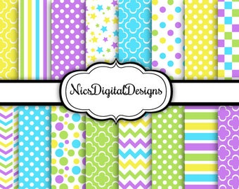 Buy 2 Get 1 Free-16 Digital Papers. Pretty Patterns in Fresh Spring Colours (5C no 2) for Personal Use and Small Commercial Use Scrapbooking