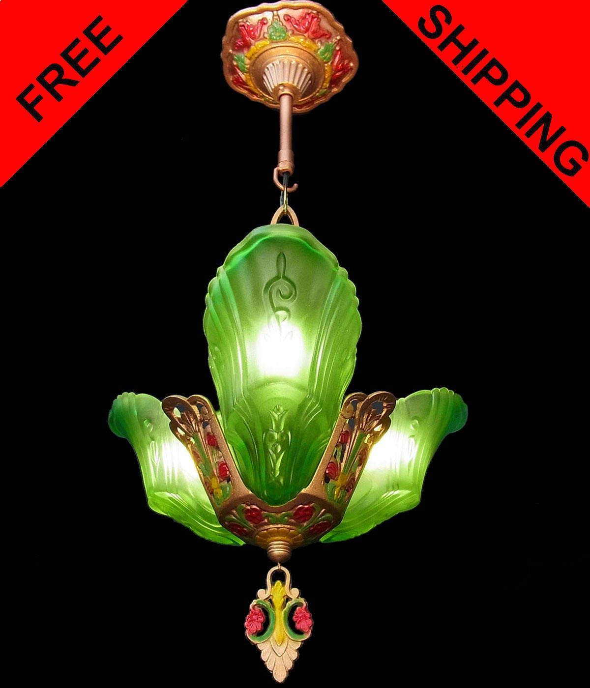 Antique Original Art Deco Green Frosted Glass 3 Light Slip