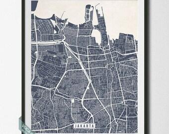Jakarta Map, Jakarta Print, Indonesia Poster, Jakarta Poster, Indonesia Map, Indonesia Print, Street Map, Christmas Gift
