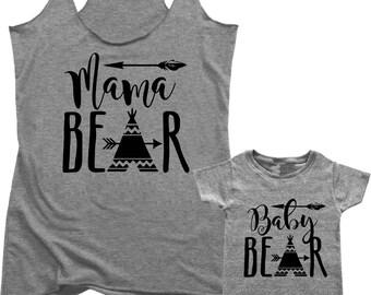 Mama Bear Baby Bear, mommy and me outfits, fur mama, boho mama, gift for her, gift for new mom, #momlife, mom life, mama bear t-shirt  B018