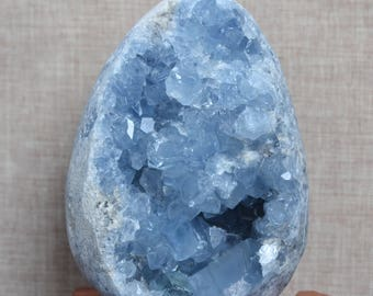 Natural Large Celestite Cluster/Pure Natural Celestite Geode/Large Blue Crystal Quartz Egg Geode decoration-120*85*67mm 1394g