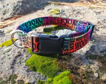 Colorful Tie Dye Woof, Fetch, and Walk Paws of Love Dog Collar