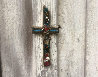 Distinctive, Unique Cross: decorated with antique jewels, ceramic, beads..great gift!