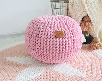 knit pouf etsy. Black Bedroom Furniture Sets. Home Design Ideas