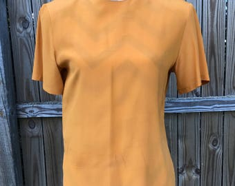 Pumpkin Colored Silk Blouse, Orange Silk Top, Vintage 1970's Orange Silk Blouse, Vintage Burnt Orange Silk Top