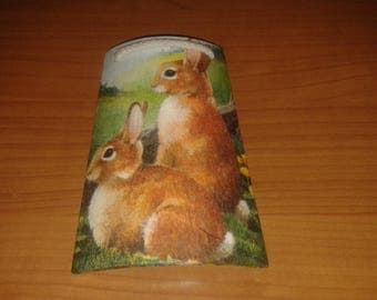 Tile wood decoupage Easter bunnies