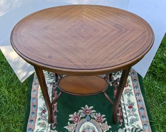 High Quality Mahogany Inlay Table, Antique, Hand Crafted Table, Oval Table