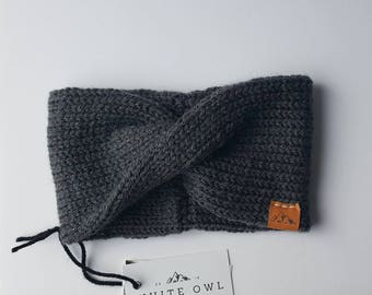 Winter Headband / Dark Grey Twist Headband/ Whiteowlcrochetco Headband