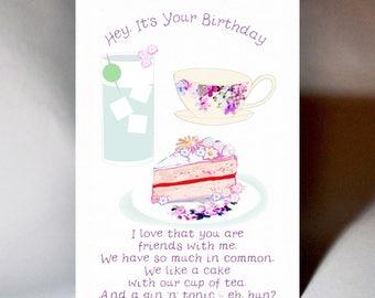 Birthday Cake and Gin Card WWBI131
