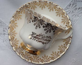 Vintage Royal Albert tea cup and saucer 'Happy Birthday', English porcelain, gold chintz pattern, large Gentleman size