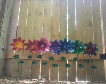 Metal Flower Garden Stake, Dahlia Flower Yard Decoration, Metal Garden Art, Metal Garden Decor, Metal Art