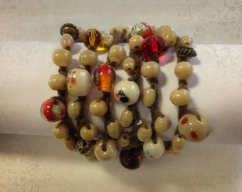 Cuff wrap, beads and linen
