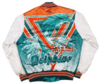 Vintage 80s 90s Chalk Line Miami Dolphins  Jacket  Size M Made in USA