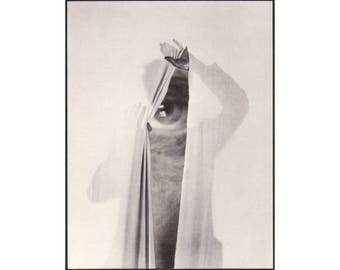 Surreal black and white collage art print, Homunculus, Eye, Human figure, Surrealism, Contemporary art, Original artwork, Paper collage art