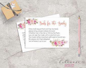 Baby Shower Bring Book Game Pink Floral Baby Game Trivia Pink Roses Baby Shower Bring Book Card Digital Printable Baby Activity - CG017