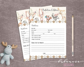 Woodland Animals Predictions Advice Baby Shower Game Cute Animals Fox Deer Squirrel Gender Neutral Printable Trivia Quiz Activity - CG007