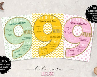 Kids 9th Birthday Invitation Number Nine Birthday Invite Pink Dots Chevron Stars Invite Glitter Ninth Children Birthday Invitation - KB016