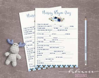 Blue Floral Baby Shower Nursery Rhyme Quiz Game Boy Baby Digital Tribal Aztec Shower Trivia Cute Boy Printable Quiz Card Baby Game - CG008