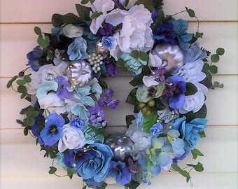 Autumn Wreath-The AUTUMN IN BLUE Wreath-Fall Wreath-Designer Wreath-Fall Decor-Autumn Decor-Handmade Wreath-Blue Wreath-Silver Wreath