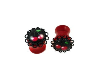 12 mm - Pin plug'up Rockabilly cherry rock