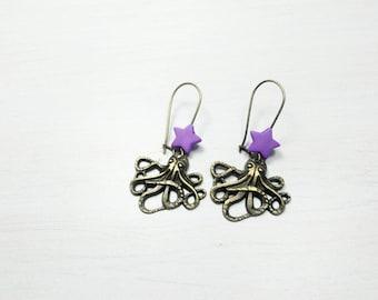 Steampunk - Octopus squid earrings