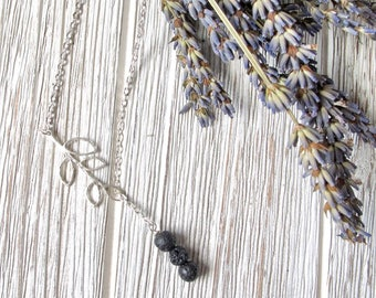 Lava Stone Necklace with Leaf Charm, Larait Necklace, Essential Oil Diffuser Jewelry, Aromatherapy Necklace, FoxAndBearEssentials