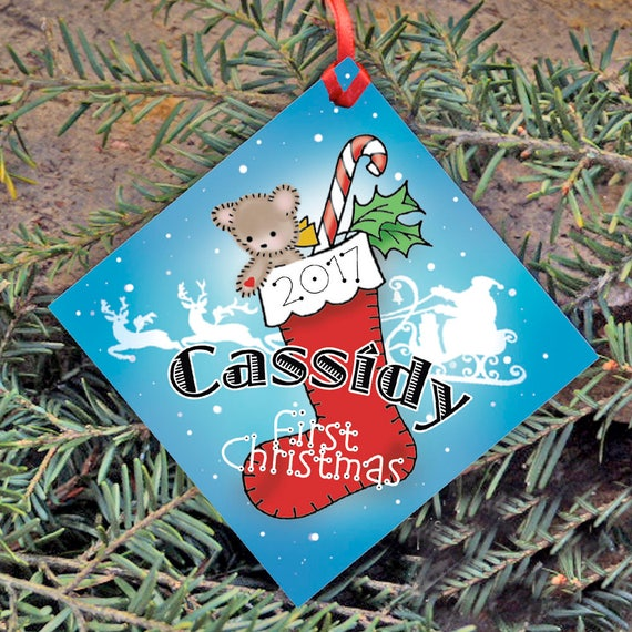 Baby's First Christmas, Personalized Christmas Ornament, Red Christmas Stocking, Name and Year, Christmas Tree Ornament