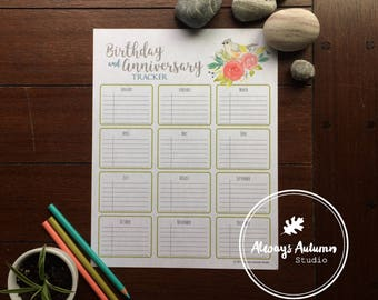 Printable Birthday and Anniversary Tracker - Tufted Titmouse Bird and Watercolor Roses