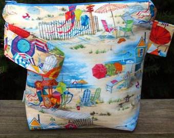 Busy Beach Scene Zippered Pouch Knitting Project Bag/ Pockets/ Measuring Tape