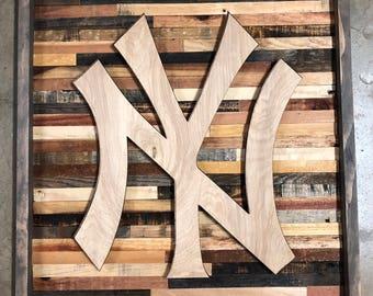 Rustic New York Yankees wall art
