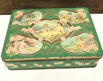 Vintage Four Season Candy Tin, Romantic Illustrations, Made in England, Vintage Decorative Tin, Shabby Chic Decor, Romantic Style